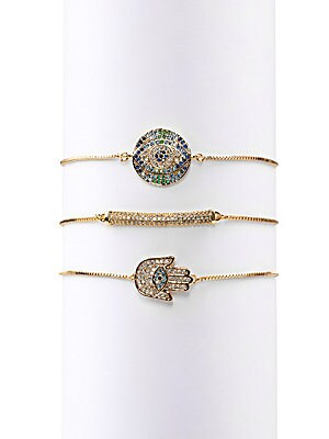 Luxe Cici Hamsa Crystal 3 Piece Bracelet Set by Eye Candy La