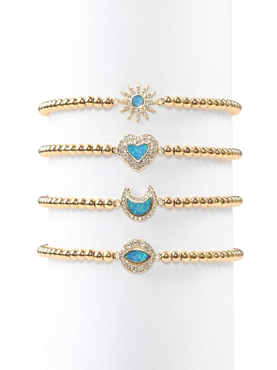 Women's Luxe Roxanne Opal & Crystal Stretch Beaded Bracelet