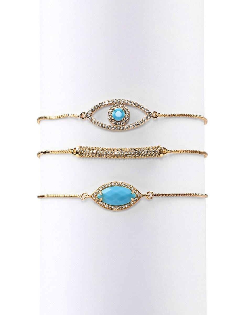 Women's Luxe Candice Gold-Plated Cubic Zirconia Eye Bracelet