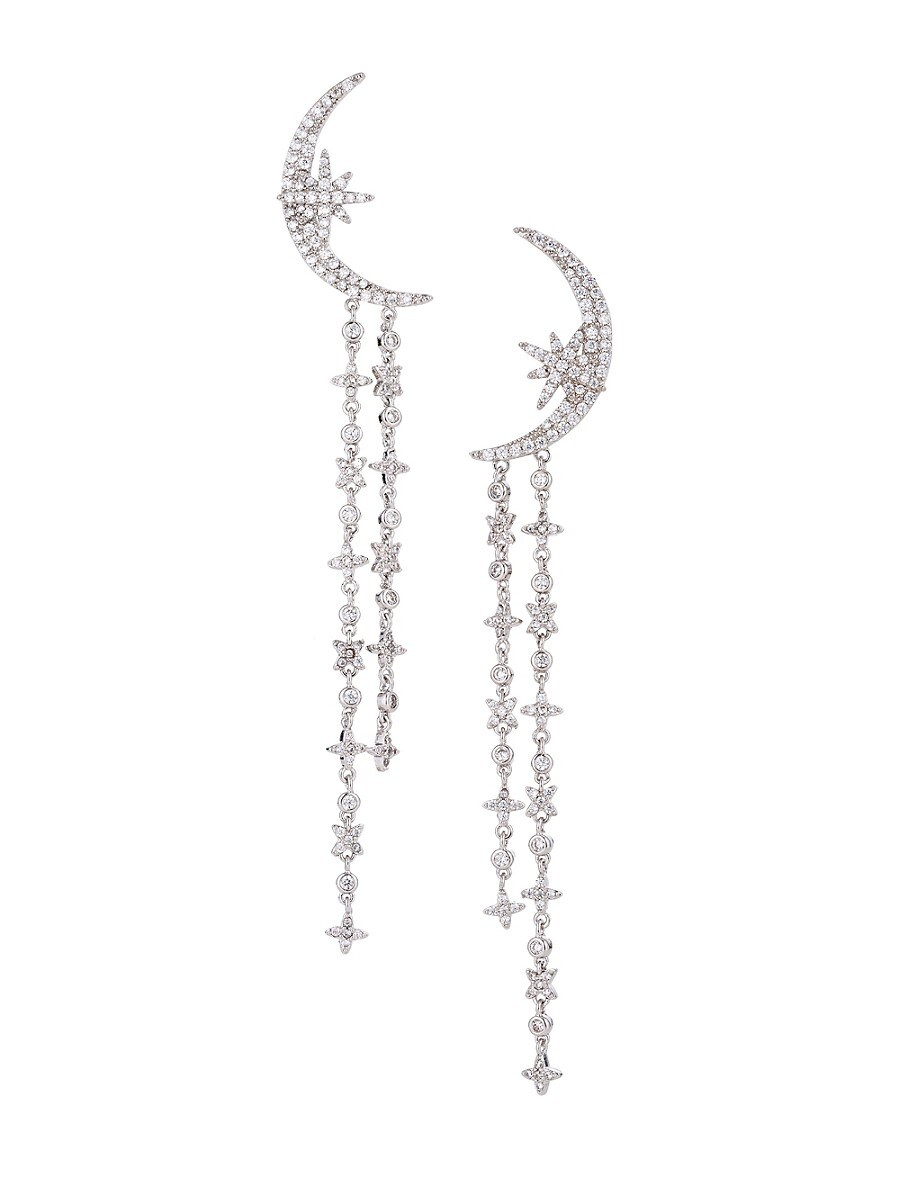Women's Luxe Silvertone & Cubic Zirconia Half Moon Drop Earrings