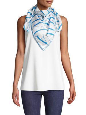 Valentino Printed Square Silk Scarf In Blue Multi