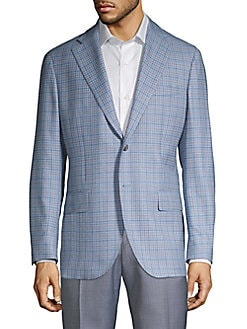 96e4f6484e2 Modern-Fit Mini Check Wool Sport Jacket BLUE. QUICK VIEW. Product image