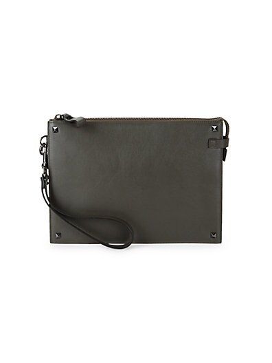 204bf44f76 Valentino Garavani Top Zip Leather Clutch ...