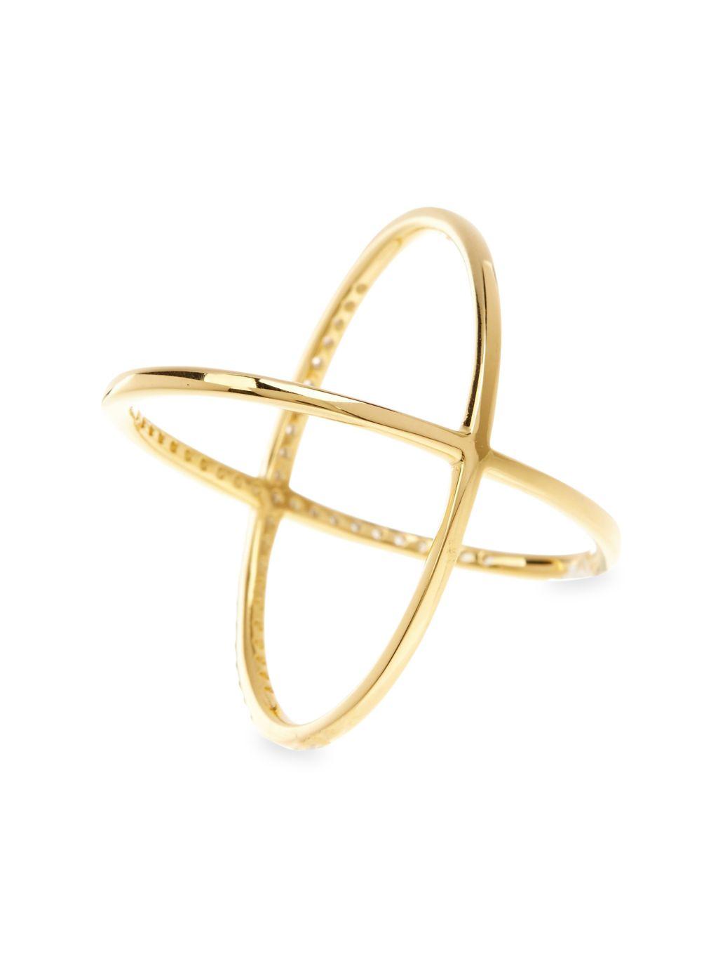Sterling Forever Crystal Crisscross Ring