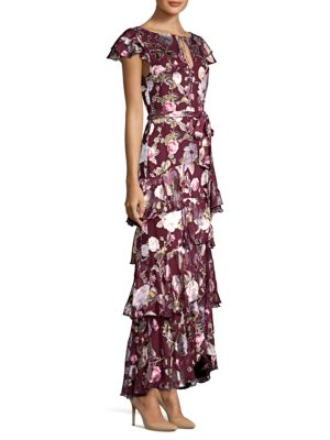 Alice And Olivia Jenny Flutter-sleeve Ruffle Dress In Hazy Floral Wine