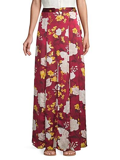 89b693f470ab Alice + Olivia Athena Silk Floral Godet Long Skirt ...