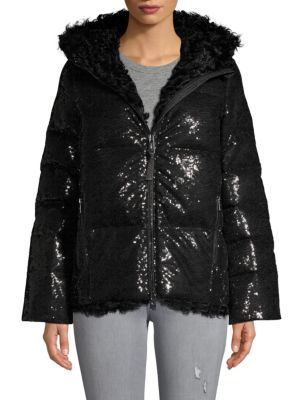 Nicole Benisti Shearling Down-filled Jacket In Black