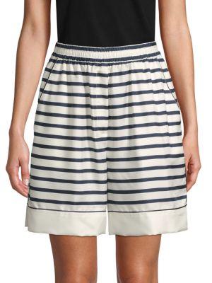 Dolce & Gabbana Silk Striped Shorts In White