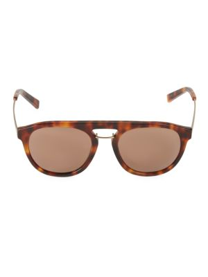 Sean John 55mm Faux Tortoiseshell Round Sunglasses In Amber Tortoise