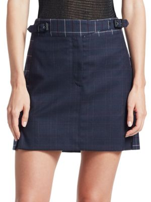 Rag & Bone James Plaid Mini Skirt In Navy Blue
