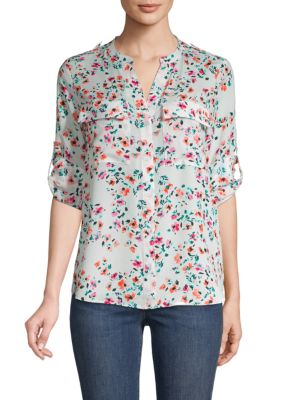 Calvin Klein Collection Floral Roll-Tab Sleeve Shirt In Soft White