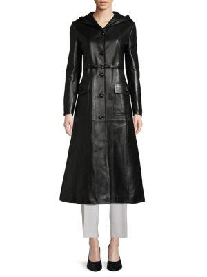 Valentino Hooded Leather Coat In Nero