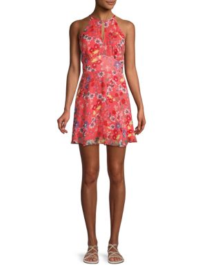 Parker Floral Silk Mini Dress In Coral