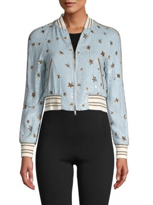 Valentino Sequin Jacket In Blue