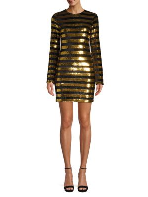 Rta Dresses Crystal Sequin Stripe Dress