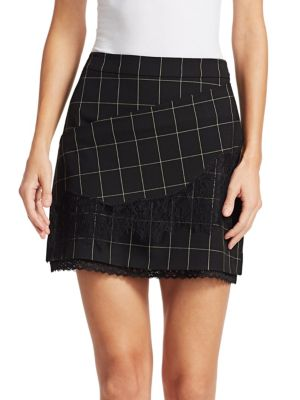Tanya Taylor Skirts Tasia Windowpane Lace Skirt