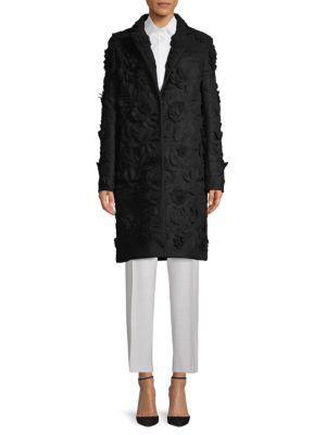 Valentino Textured Coat In Nero