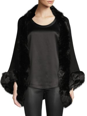 Bcbgeneration Faux Fur-trim Open-front Poncho In Black