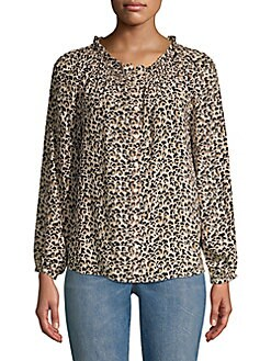 6347b2007f71e4 Silk Leopard Print Top CARAMEL. QUICK VIEW. Product image. QUICK VIEW. Rebecca  Taylor