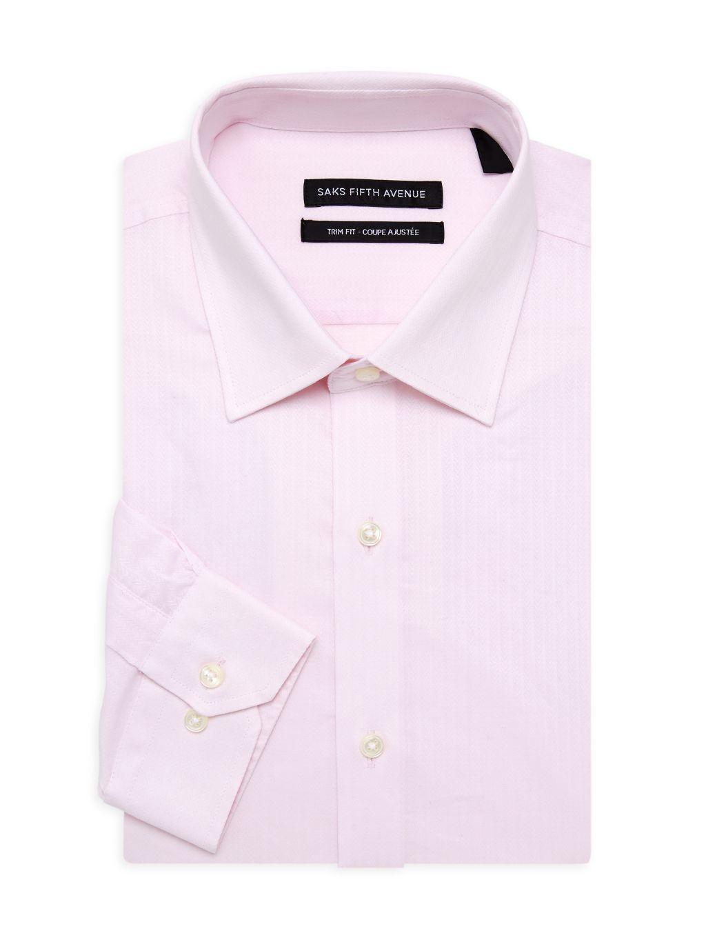 Saks Fifth Avenue Trim-Fit Herringbone Stripe Dress Shirt