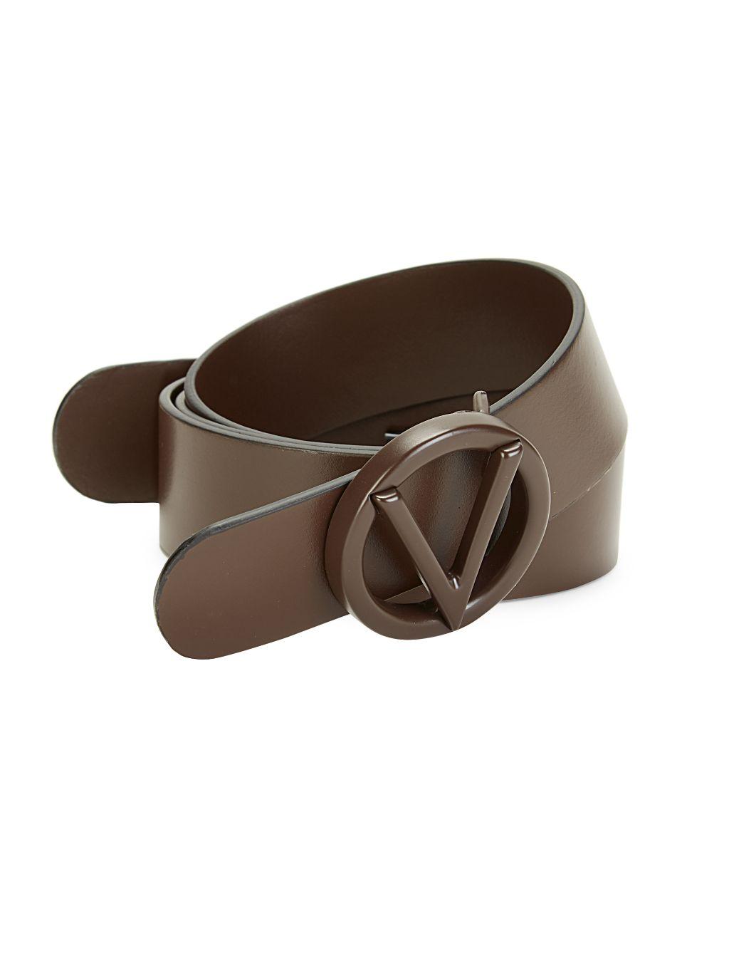 Valentino by Mario Valentino Circular Logo Buckle Leather Belt
