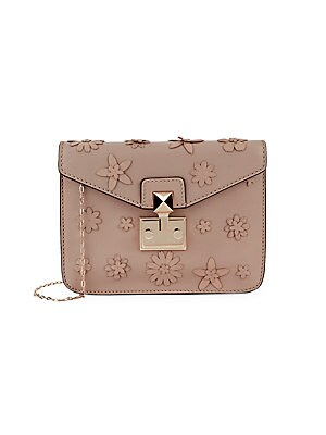 Floral Embellished Leather Crossbody Bag by Valentino Garavani