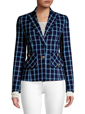 Escada Boshan Window Pane Jacket In Blue
