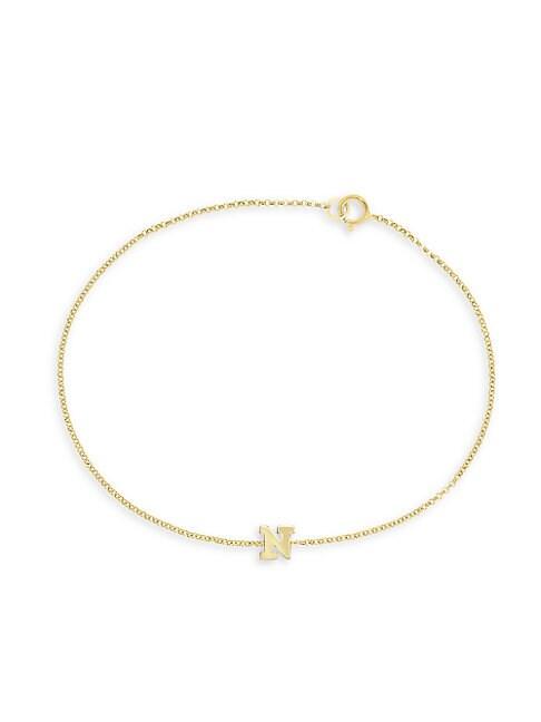 14K Yellow Gold Initial Chain Bracelet