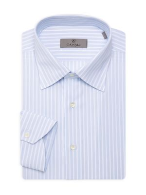 Canali Modern-fit Striped Dress Shirt In Blue