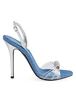 b0f2de6a1 QUICK VIEW. Giuseppe Zanotti. Clear Denim Slingback Stiletto Sandals