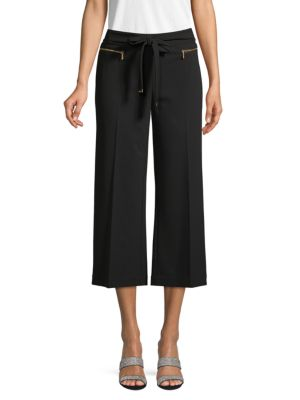 Calvin Klein Collection Wide-leg Cropped Pants In Black