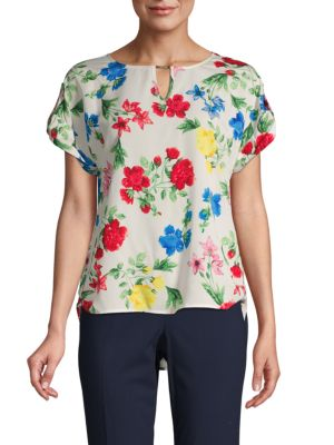 Calvin Klein Collection Floral-Print Short-Sleeve Top In White