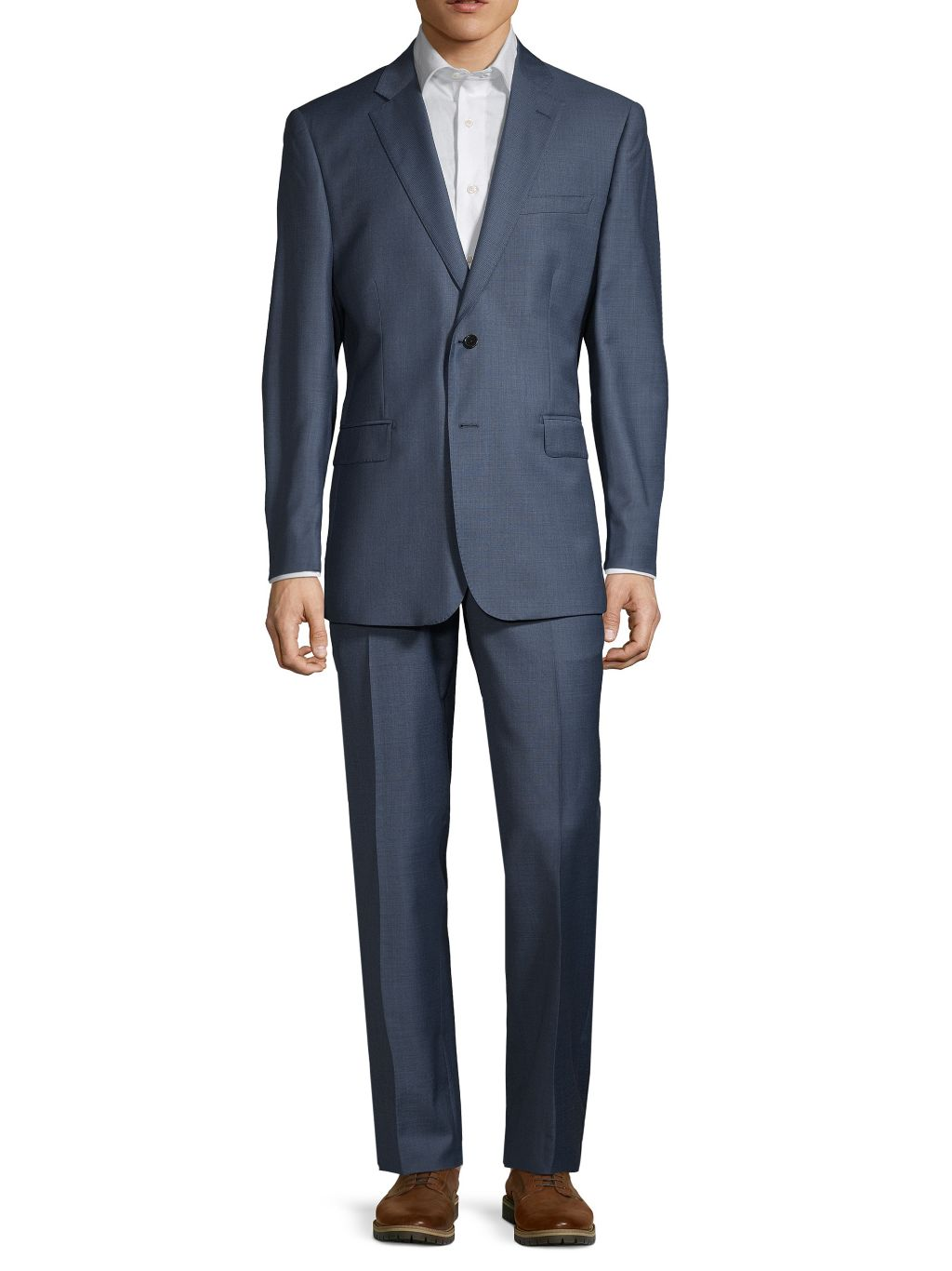 Saks Fifth Avenue Made in Italy Slim-Fit Sharkskin Wool Suit