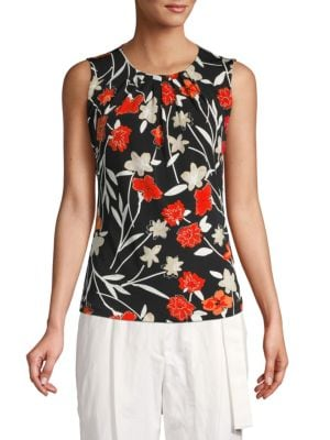 Calvin Klein Collection Floral-Print Pleated Top In Tango Multi