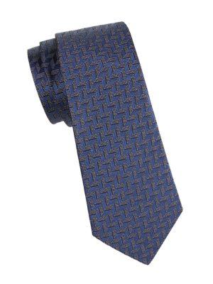 Armani Collezioni Chevron Silk Tie In Blue