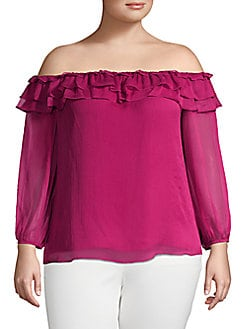 28218e4cdb26d8 Product image. QUICK VIEW. Vince Camuto. Off-The-Shoulder Ruffle Top