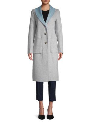 Jenna Shawl Collar Wool Blend Coat by T Tahari