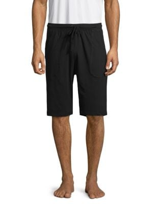 Unsimply Stitched Drawstring Cotton Shorts In Black