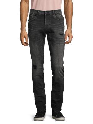 Hudson Distressed Skinny-fit Jeans In Deluxe