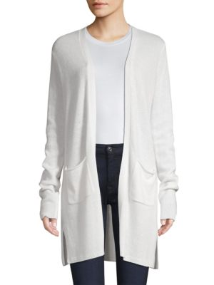 Atm Anthony Thomas Melillo Open Front Cashmere Cardigan In Snow