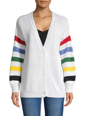 Joie Striped Wool-blend Cardigan In Porcelain