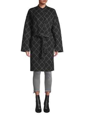 Joie Shaurya Windowpane Check Wrap Coat In Caviar