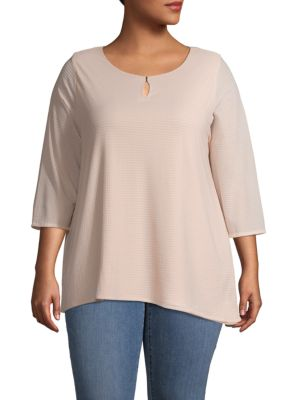 Calvin Klein Collection Plus Waffle-Knit Three-Quarter Top In Blush