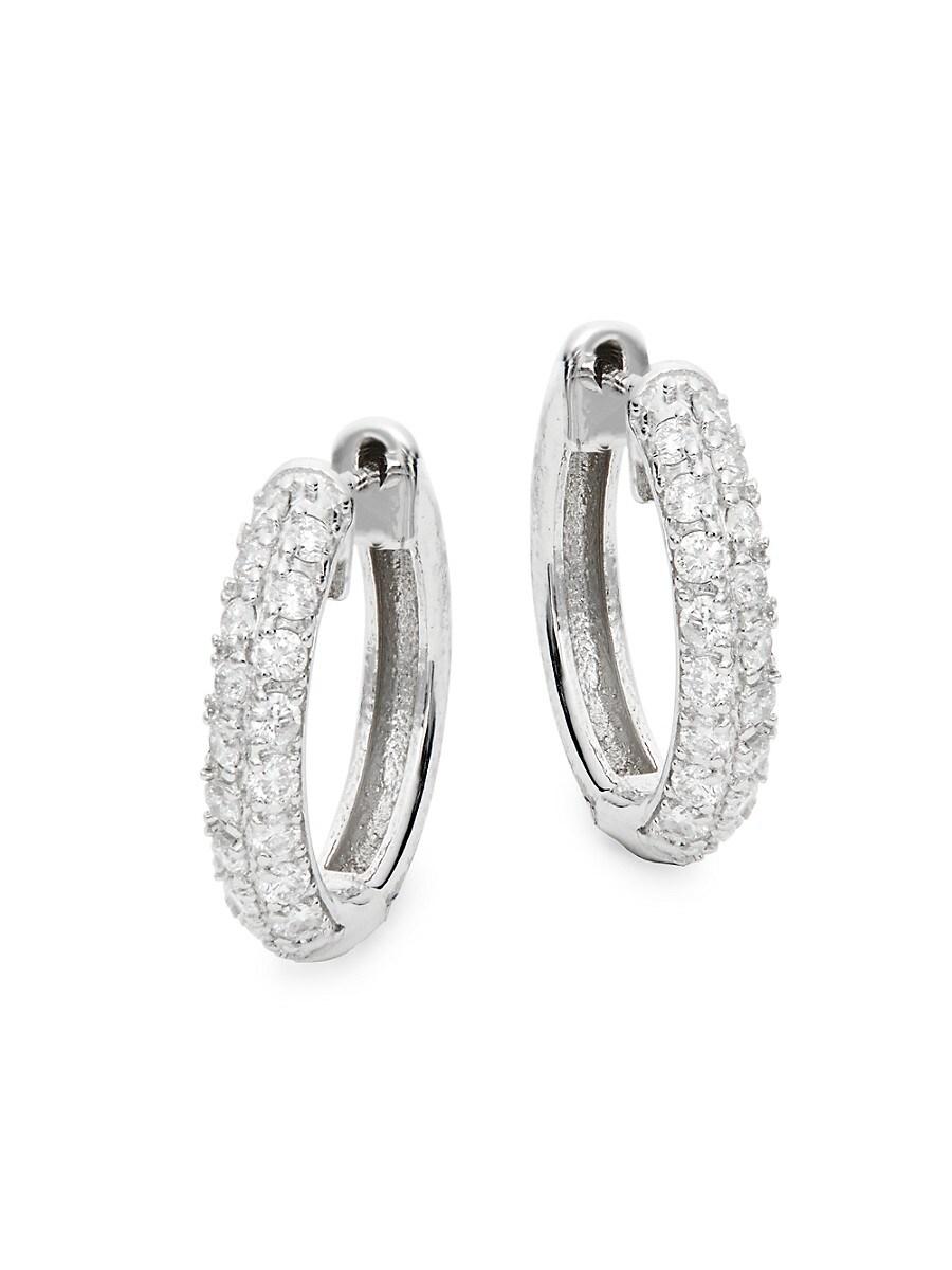 Women's 14K White Gold & 0.41 TCW Diamond Pave Huggie Hoop Earrings