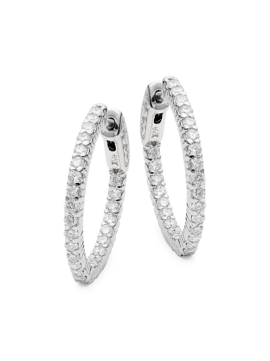 Women's 14K White Gold & 1 TCW Diamond Hoop Earrings