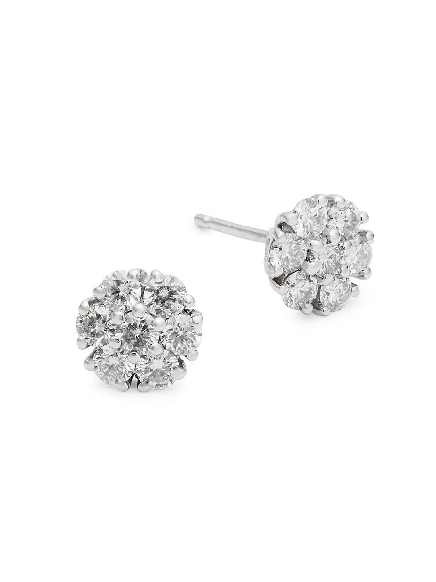 Women's 14K White Gold & 0.75 TCW Diamond Cluster Stud Earrings