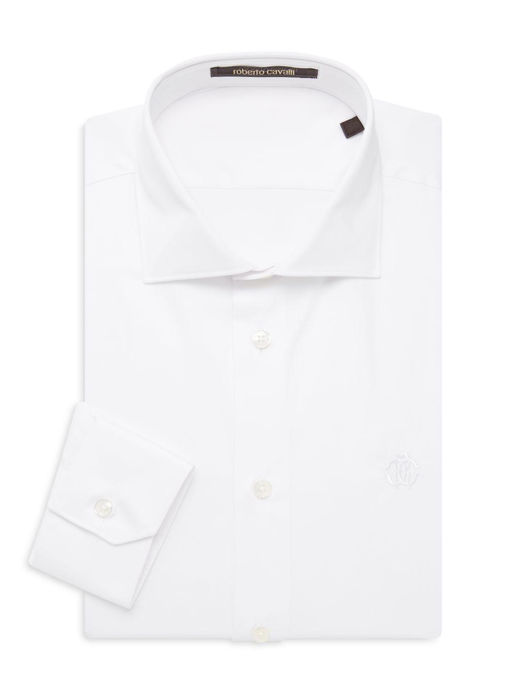 Roberto Cavalli Slim-Fit Solid Dress Shirt