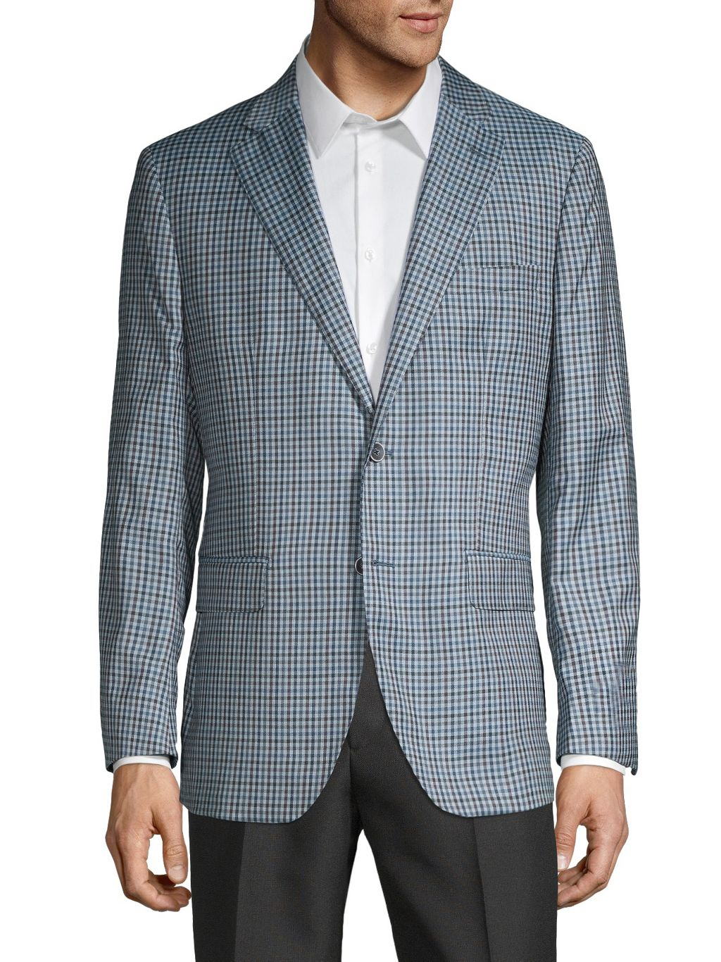 Saks Fifth Avenue Made in Italy Gingham-Print Wool & Silk-Blend Sportcoat