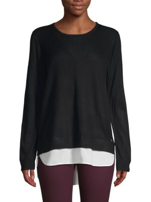 Calvin Klein Collection Ribbed Layered Pullover Sweater In Black