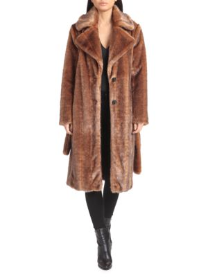 Avec Les Filles Coats Belted Faux Mink Coat